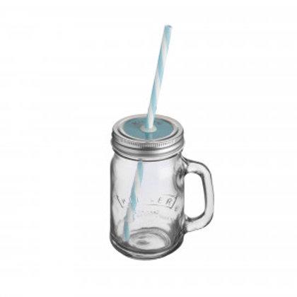 Kilner Handled jar, lid and straw (Blue)