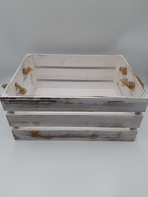Crate Distressed Whitewash Rope Handled