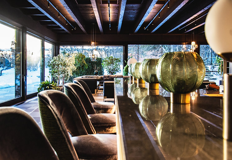 bar barstools living room with the bar and billiard table