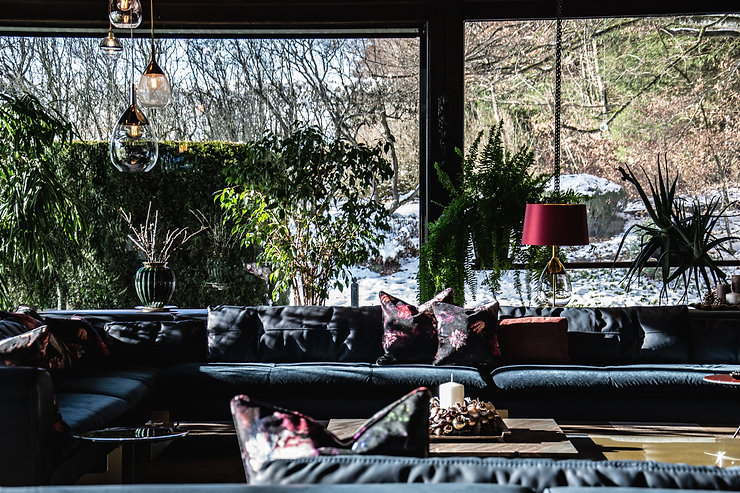 big couch vitrine glass view to garden winter greenhouse
