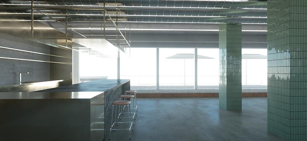 Bar, offene Küche, Arbeitsbereich und die Terrasse im letzten Stock