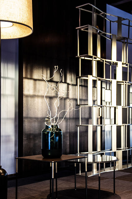 brass shelf, light interior details, light shadows