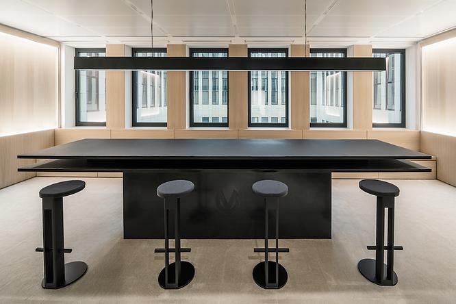 big table for meeting, monospace, woodpaneling, custom made furniture