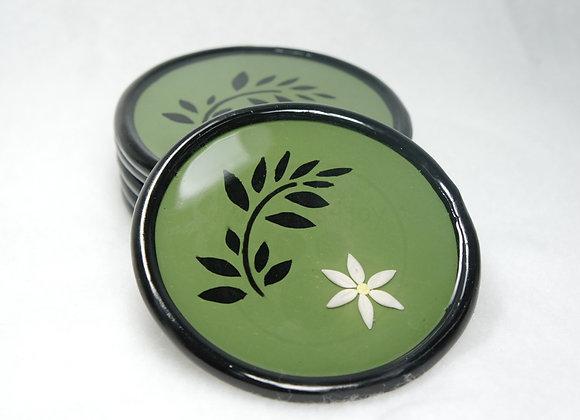 """Green Zen"" Coasters (6), Item DC-GrZe-001"