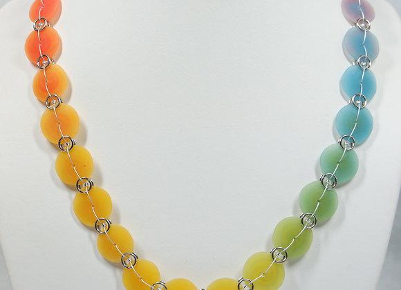Rainbow Beach Glass Necklace: JN-RbBg-001