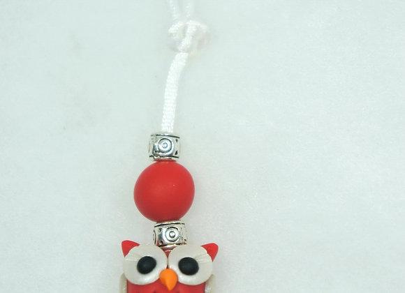 Owl Purse charm - Red/White, Item CC-OwBu-008