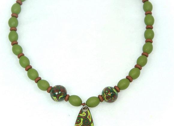 Green olive Swirls Necklace, Item JN-SbOG-001