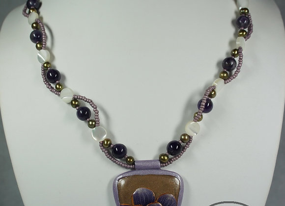 Purple Flower Pendant Necklace, Item JN-PuFl-001