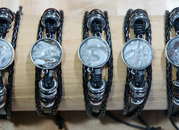 Unisex multi strand adjustable leather bracelet, Greys