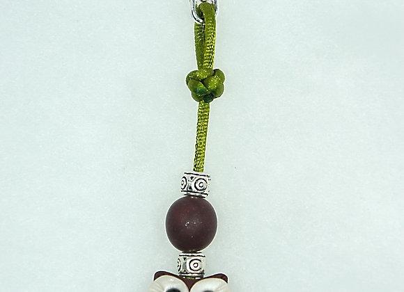 Owl Purse charm - Burgundy/Green, Item CC-OwBu-001