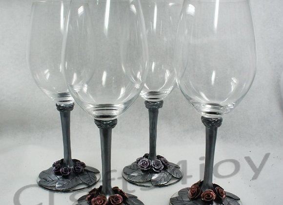 Mettallic Roses Wine glasses, set of 4