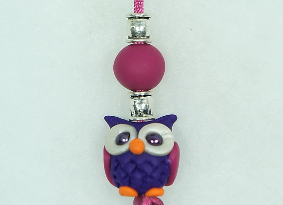 Owl Purse charm - Purple/Pink, Item CC-OwPu-005