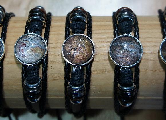 Unisex multi strand adjustable leather bracelet, metallic Browns