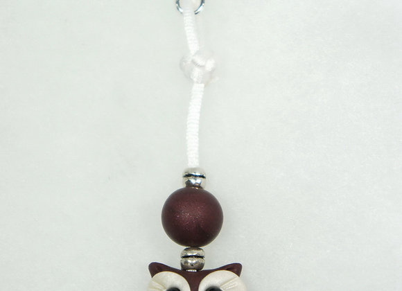 Owl Purse charm - Burgundy/White, Item CC-OwBu-002