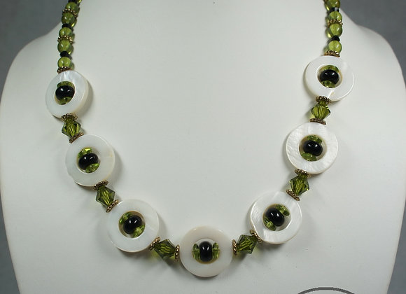 Mother of Pearl Disk Necklace, Item JN-MpDk-001