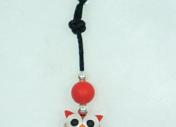 Owl Purse charm - Red/Black, Item CC-OwBu-007