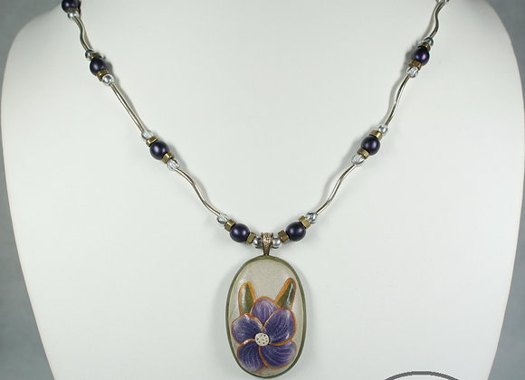 Purple Flower Pendant Necklace, Item JN-PuFl-002