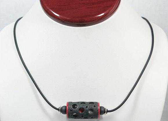 Hollow Tube Pendant w/ ball Necklace: JN-TuBd-001
