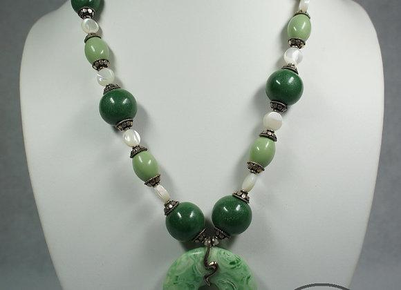 Faux Jade Pendant Necklace, Item JN-FxJd-001