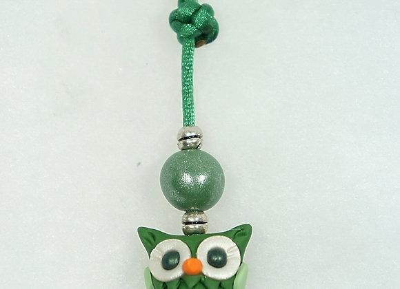 Owl Purse charm - Green/Green, Item CC-OwGr-003