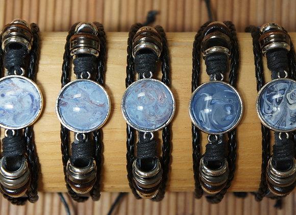 Unisex multi strand adjustable leather bracelet, Blues