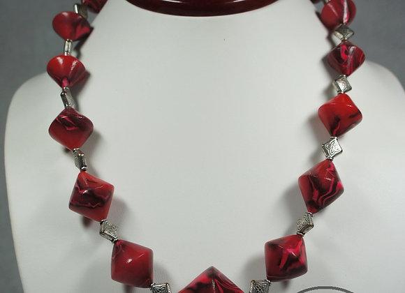 Swirled Red Bicone Necklace, Item JN-SwBc-001