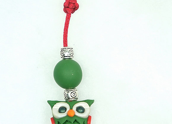 Owl Purse charm - Green/Red, Item CC-OwGr-004