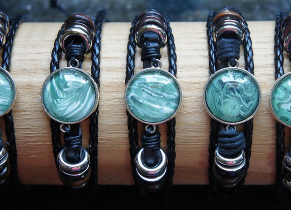 Unisex multi strand adjustable leather bracelet, Greens