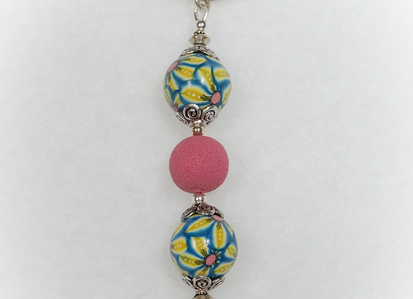 Pink Beads and Flowers Key Chain, KF-MvFl-006