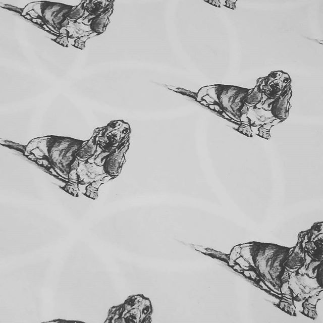 Turning fabric into oilcloth ready for bag making! #bassethound #printmepretty1 #sketch #dogart #dog