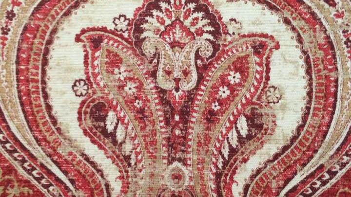 Waverly Red Swirls with tan and cream