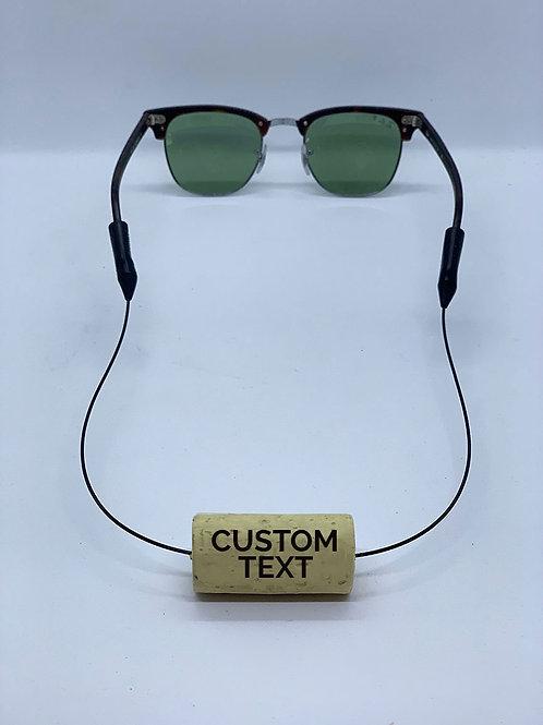 custom text eyewear retainer wine cork