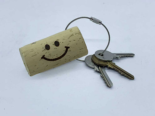 smiley face wine cork keyring