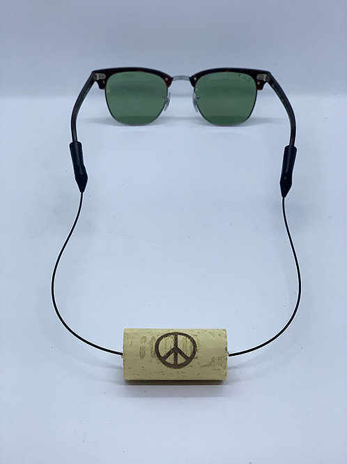 peace sign floating wine cork sunglasses strap