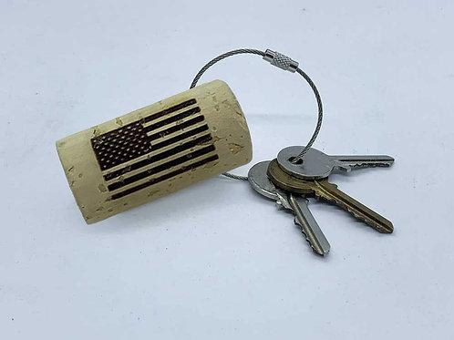 usa flag wine cork keyring