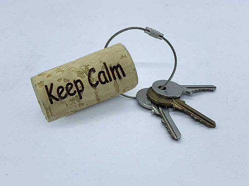 custom wine cork keyring keep calm