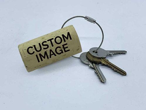 custom image wine cork keyring swag