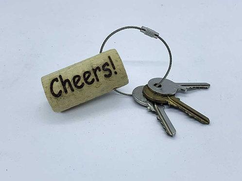 laser engraved wine cork keyring cheers