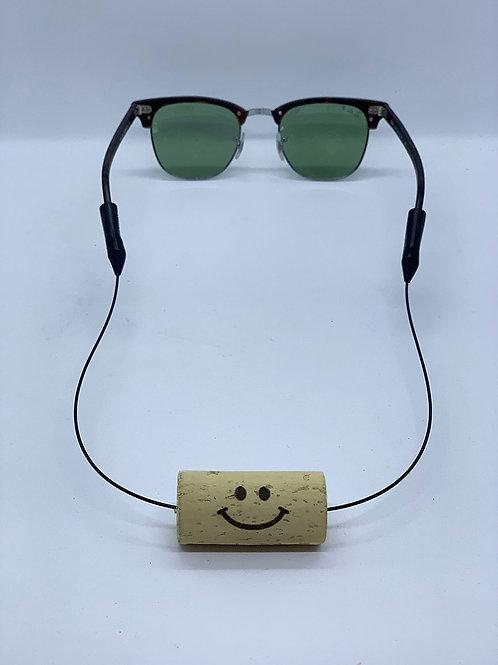 smiley face eyewear strap with wine cork