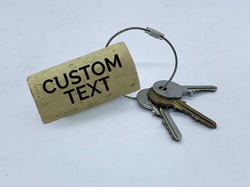 custom text swag laser engraved wine cork keyring
