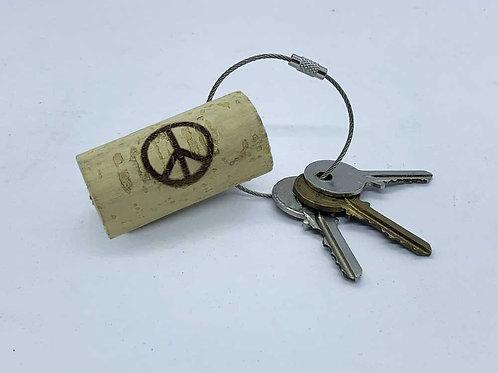 peace sign wine cork keyring