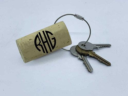 custom monogram swag wine cork keyring