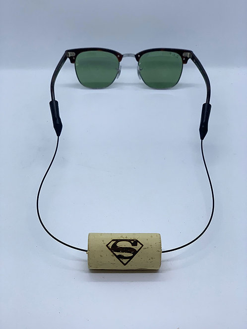 superman logo engraved wine cork floating sunglass strap