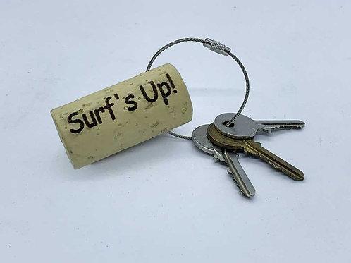 surf's up swag wine cork keyring