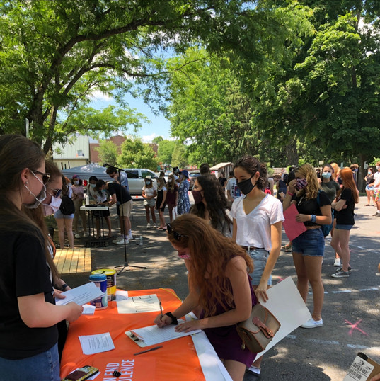 HVSU's table at BLM rally in Rhinebeck