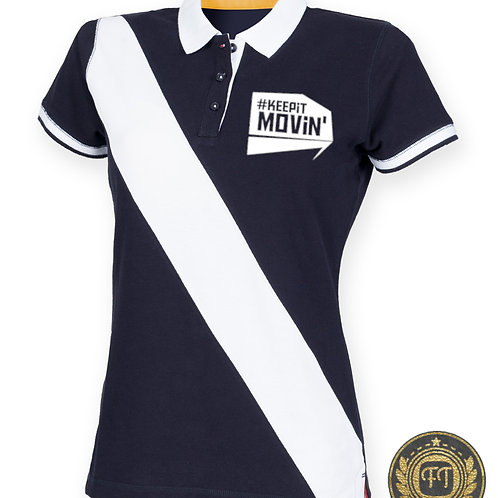 #Keepitmovin' - Diagonal Stripe Cotton Piqué Polo