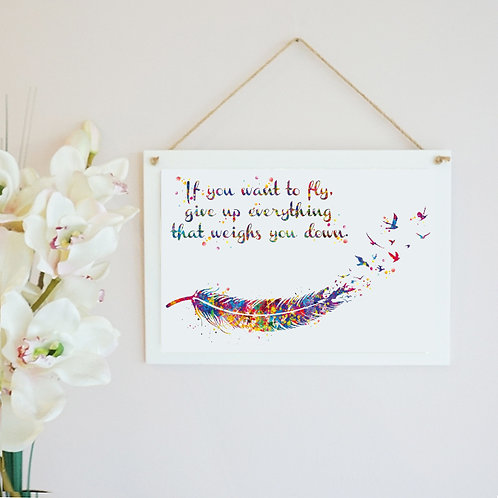 If You Want To Fly Wooden Hanging Frame