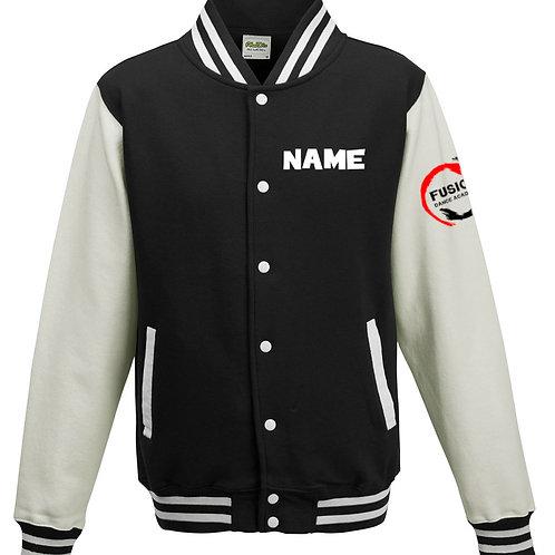 Adult's Fusion Black/White Varsity Jacket
