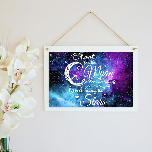 Shoot For The Moon Wooden Hanging Frame
