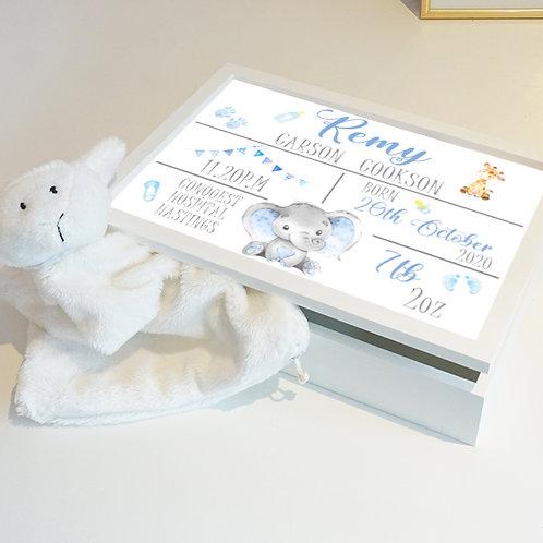 Personalised Blue Birth Keepsake Box